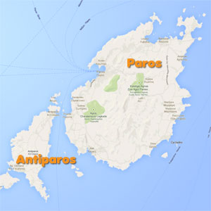 Map with the rooms of Paros and Antiparos
